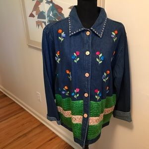 Casual Design Embroidered Jean Jacket  Size L
